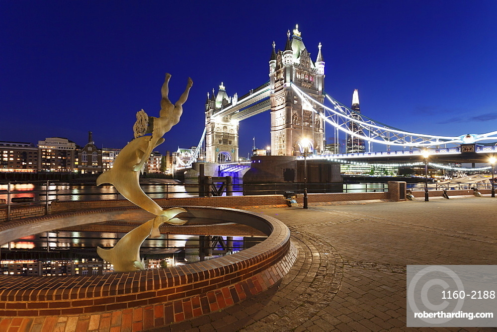 View from St. Katherine Pier to Tower Bridge and The Shard Building, London, England, United Kingdom, Europe