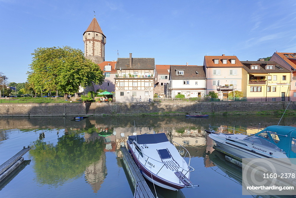Old town with Spitzer Turm Tower, Tauber River, Wertheim, Main Tauber District, Baden-Wurttemberg, Germany, Europe