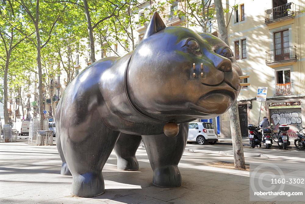 The cat (El Gat) sculpture by Botero, Rambla del Raval, Barcelona, Catalonia, Spain, Europe