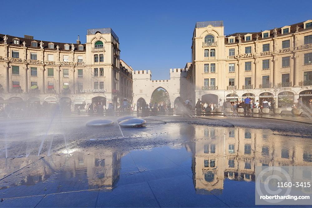 Fountain at Karlsplatz Square, Stachus, Karlstor Gate, Munich, Bavaria, Germany, Europe