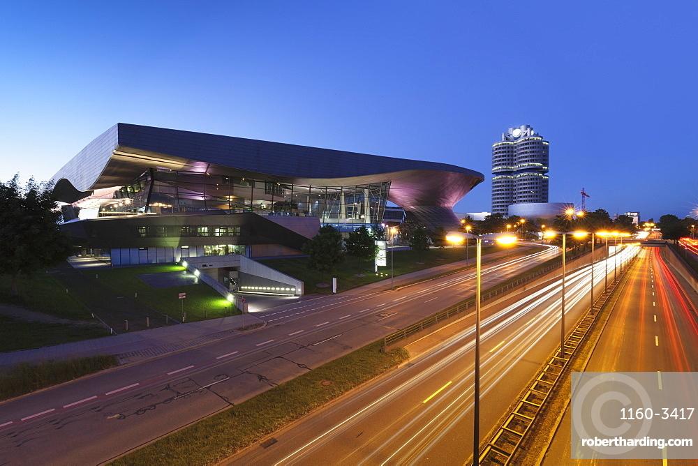 BMW Welt with BMW building and BMW Museum, Olympiazentrum, Mittleren Ring, Munich, Bavaria, Germany, Europe