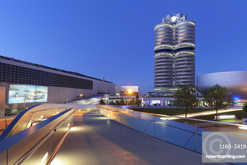 BMW building and BMW Museum, Olympiazentrum, Mittleren Ring, Munich, Bavaria, Germany, Europe