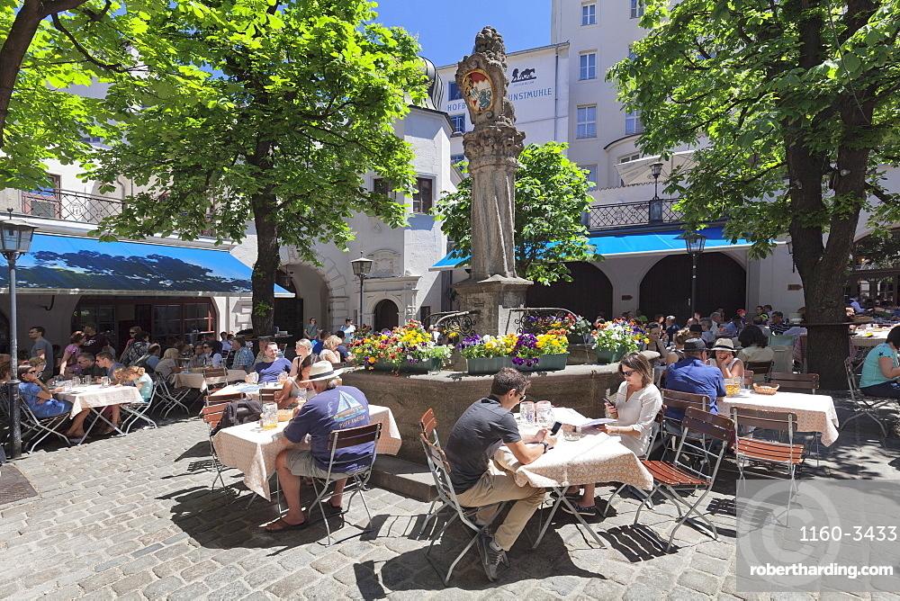 Beer Garden at Hofbraeuhaus, Munich, Bavaria, Germany, Europe