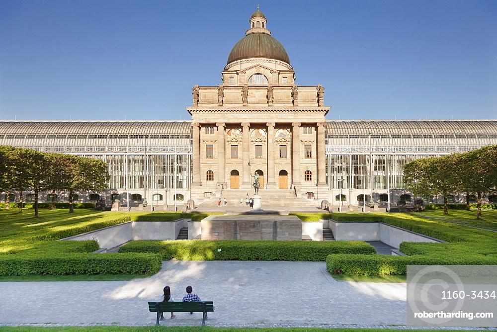 Bavarian State Chancellery (Bayrische Staatskanzlei), Hofgarten Court Gardens, Munich, Bavaria, Germany, Europe