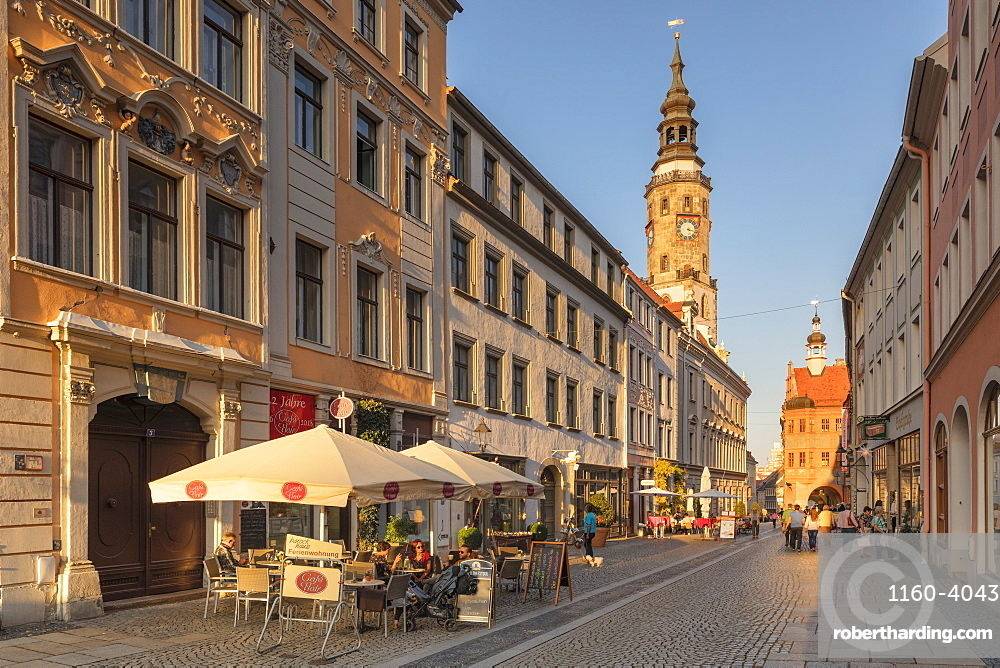 Bruederstrasse with Tower of the Old Town hall, Goerlitz, Saxony, Germany, Europe