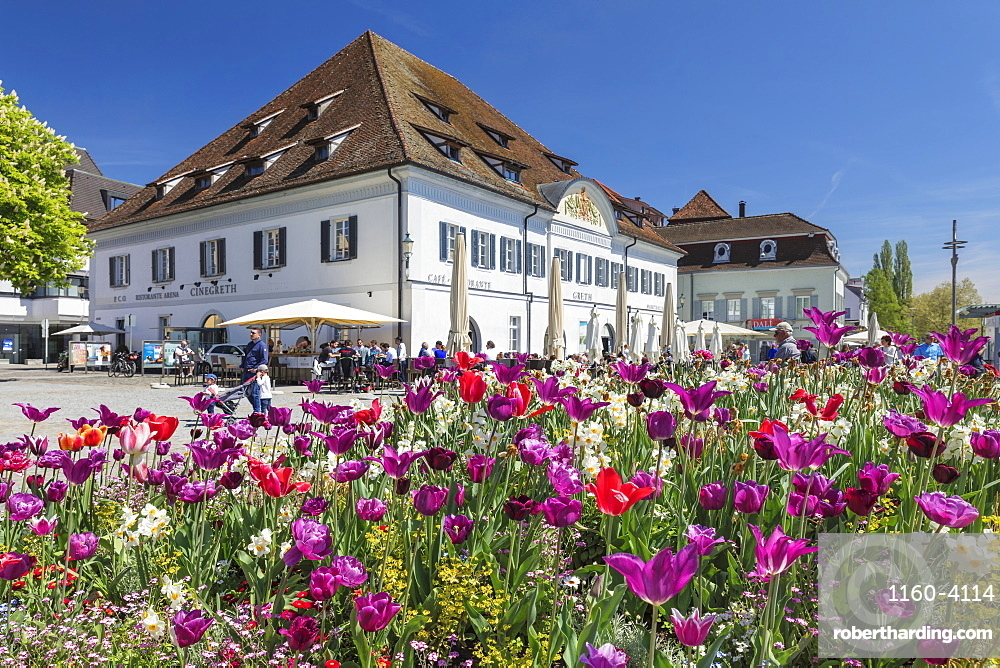 Restaurants and street cafe at the promenade, Uberlingen, Lake Constance, Baden-Wurttemberg, Germany, Europe