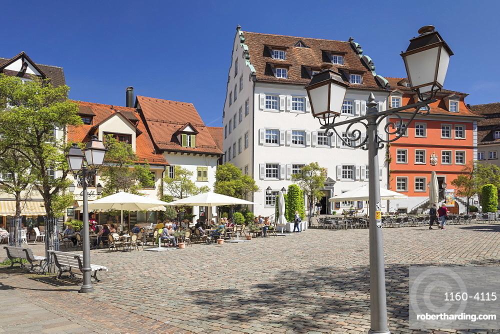 Street Cafe at Schlossplatz Square, Meersburg, Lake Constance, Baden-Wurttemberg, Germany, Europe