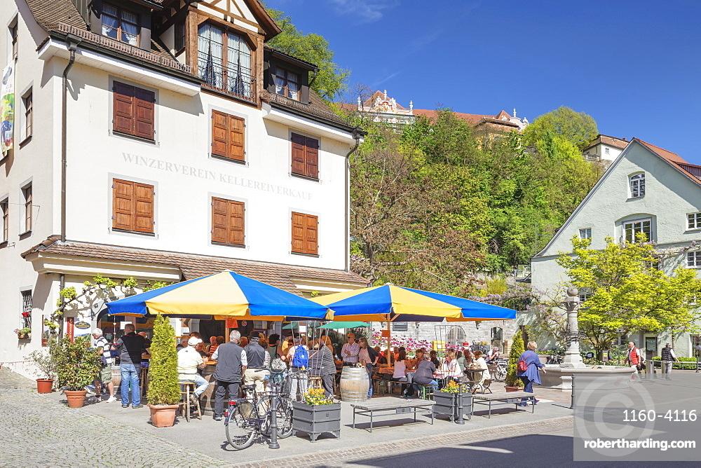 Wine grower restaurant, pedestrain area, Meersburg, Lake Constance, Baden-Wurttemberg, Germany, Europe