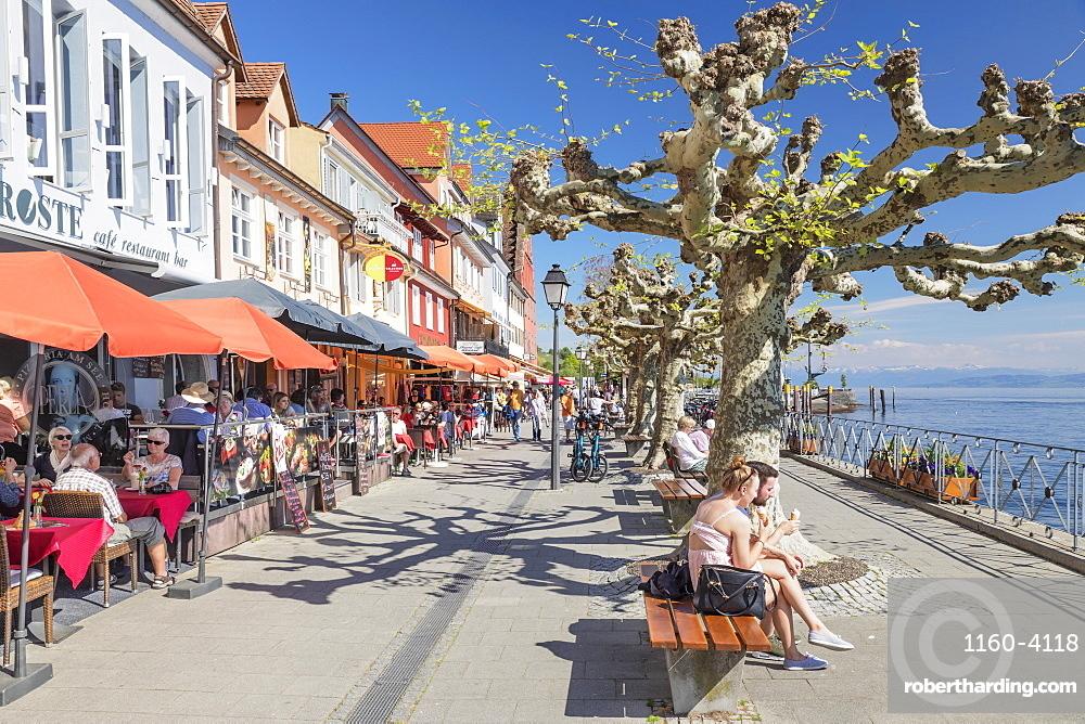 Restaurants at the promenade, Meersburg, Lake Constance, Baden-Wurttemberg, Germany, Europe