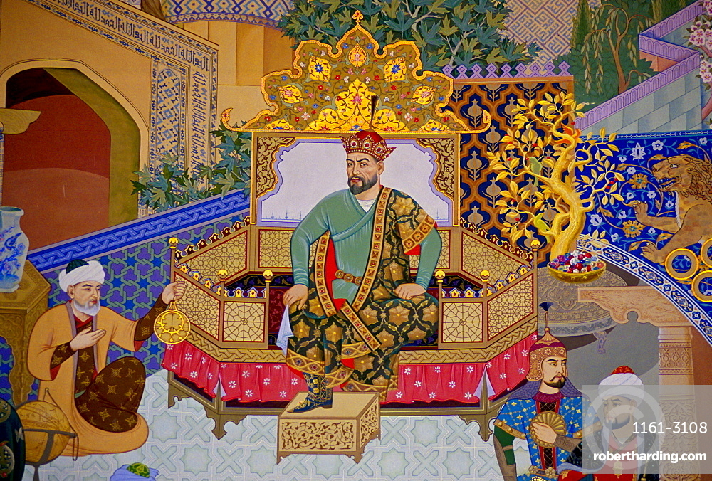 Mural of Tamerlane, also known as Amir Timur or Timur the Great, at Tamerlane Museum,Uzbekistan.