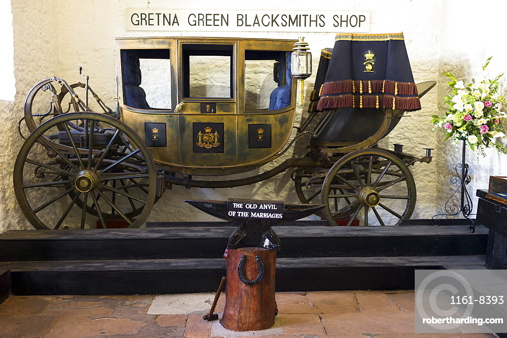 Famous Gretna Green Blacksmith's Shop used for eloping couples and weddings under Scottish licence on the border of Scotland and England, Gretna Green, Scotland, United Kingdom, Europe