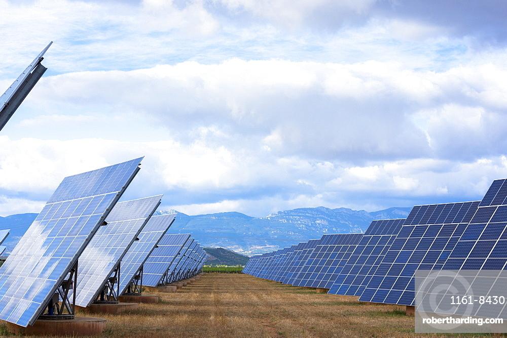 A field of solar panels in La Rioja, Northern Spain, Europe