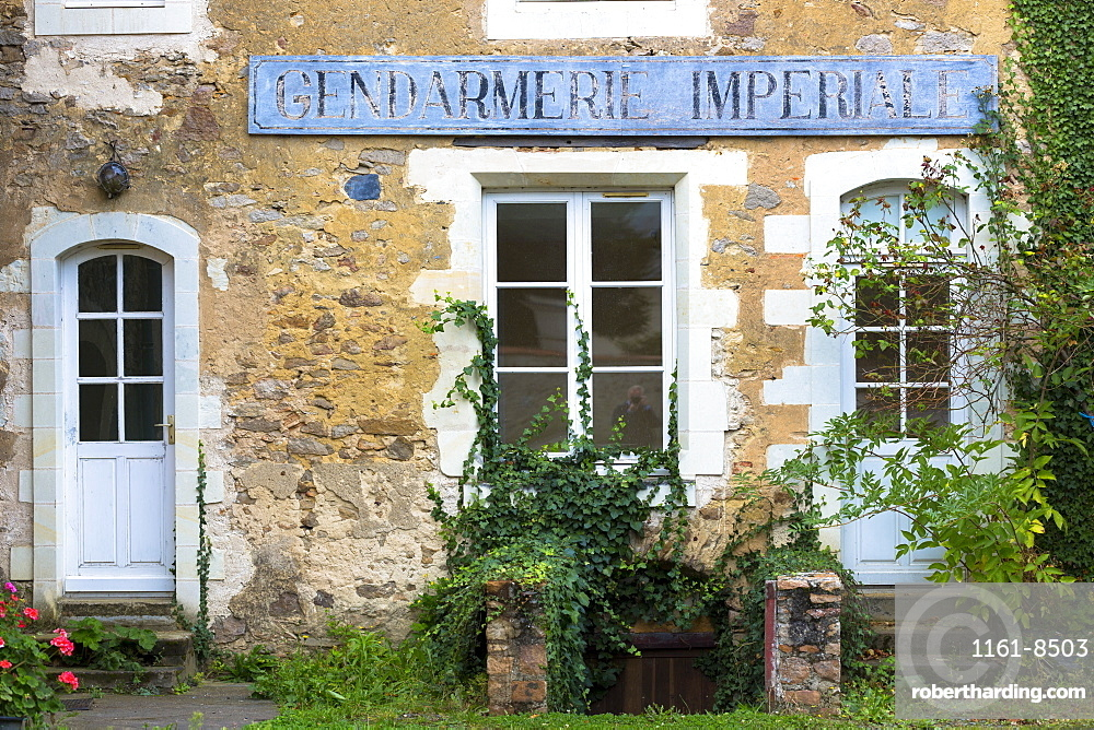 Traditional old French Gendarmerie (police station) in Western France, Maine-et-Loire, Europe