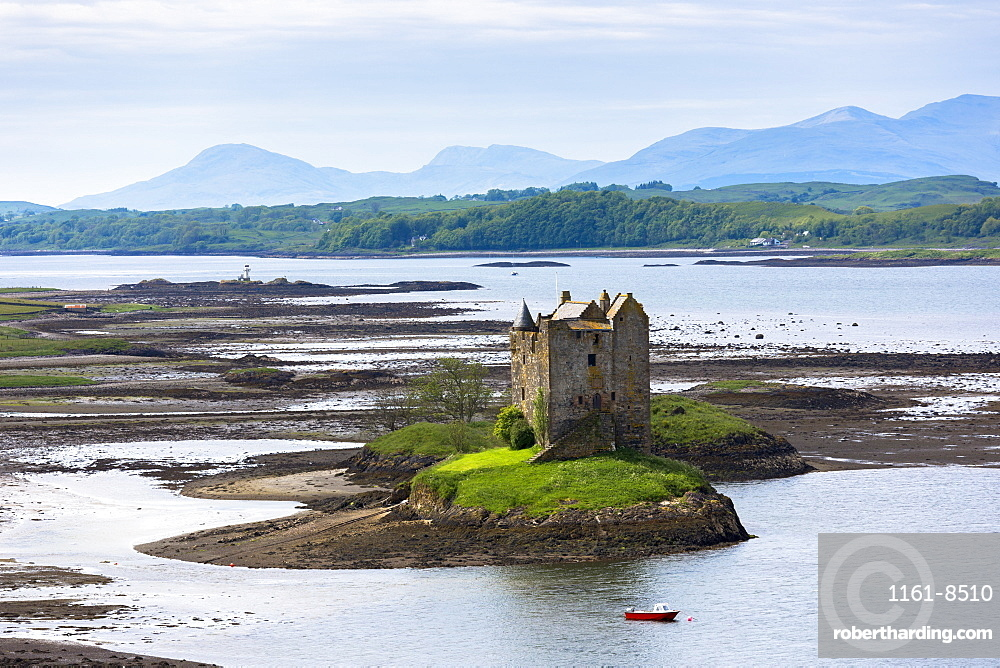 Stalker Castle on Loch Linnhe, 14th century Highland fortress of MacDougall clan at Appin, Argyll in the Highlands of Scotland, United Kingdom, Europe