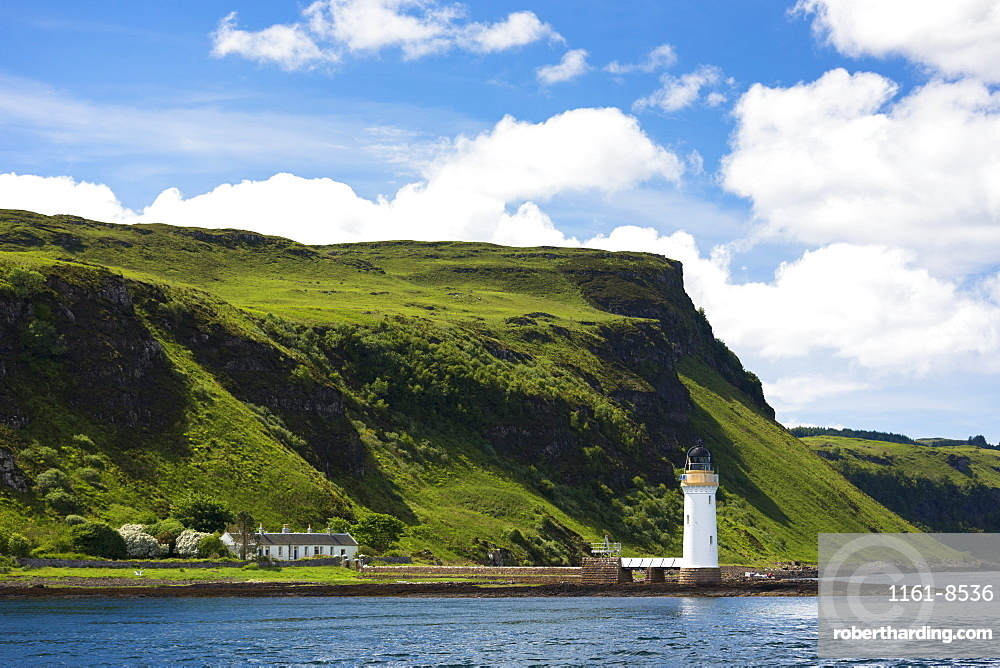 Lighthouse on Sound of Mull near Tobermory on the Isle of Mull, Inner Hebrides and Western Isles, Scotland, United Kingdom, Europe