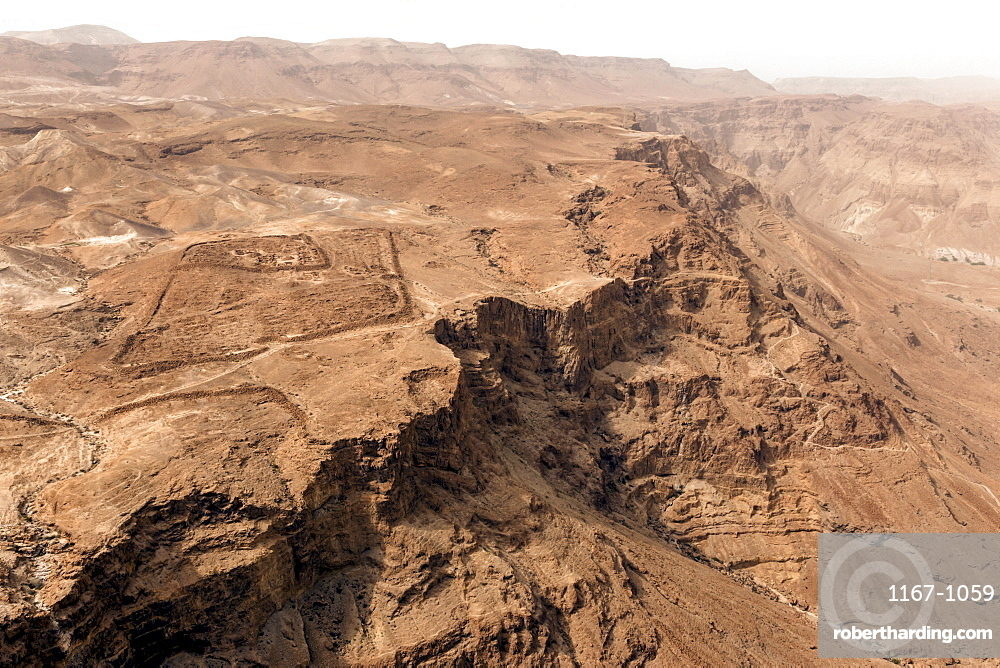 Roman military camp ruins and the Judaean desert, seen from the Masada fortress, UNESCO World Heritage Site, Israel, Middle East