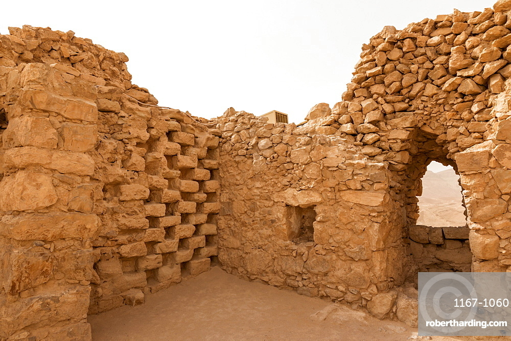 Intricate stonework, Columbarium tower (dovecote), fortress ruins, Masada, UNESCO World Heritage Site, Israel, Middle East