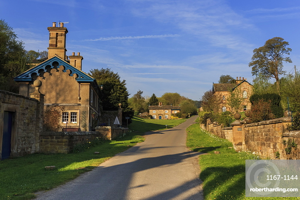 Spring morning at Edensor, Estate Village at Chatsworth, home of Duke of Devonshire, near Chesterfield, Derbyshire, England, United Kingdom, Europe
