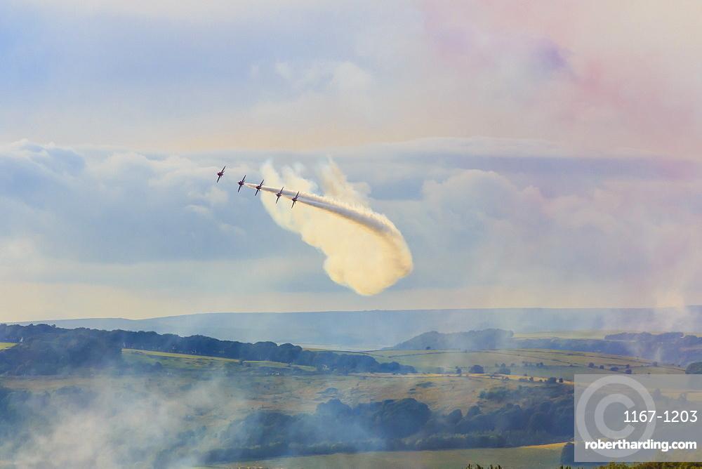 Red Arrows, Royal Air Force aerobatic display team, Peak District National Park, Derbyshire, England, United Kingdom, Europe