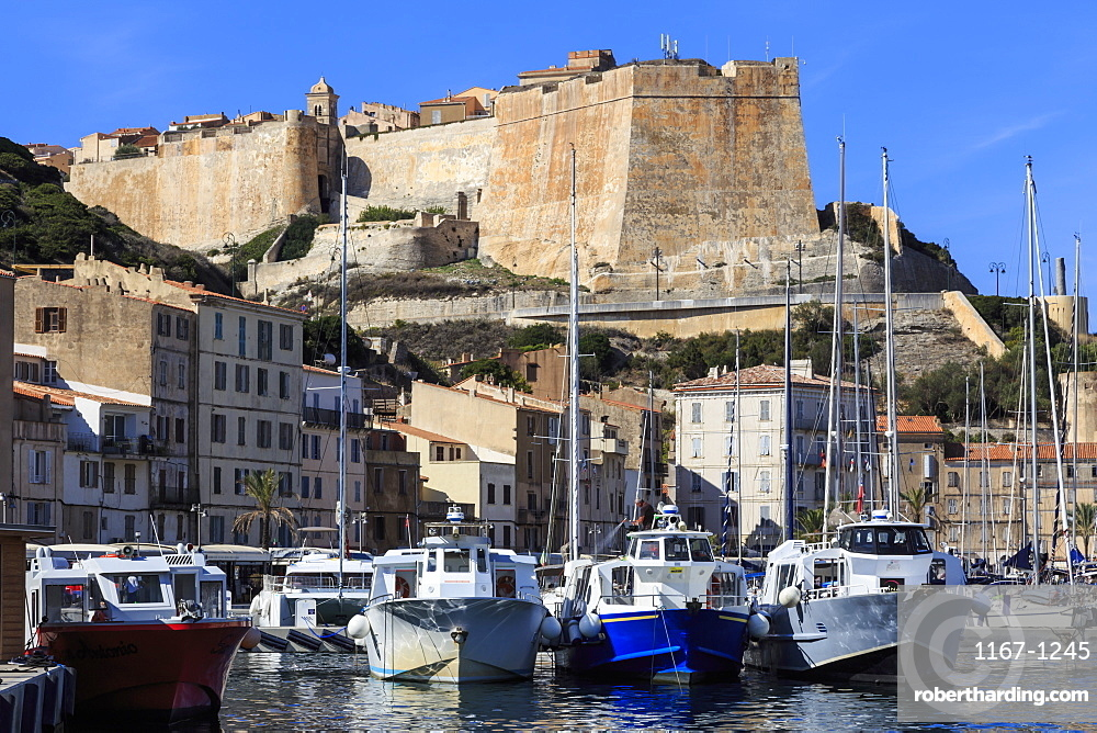 Old citadel view with yachts in the marina, Bonifacio, Corsica, France, Mediterranean, Europe