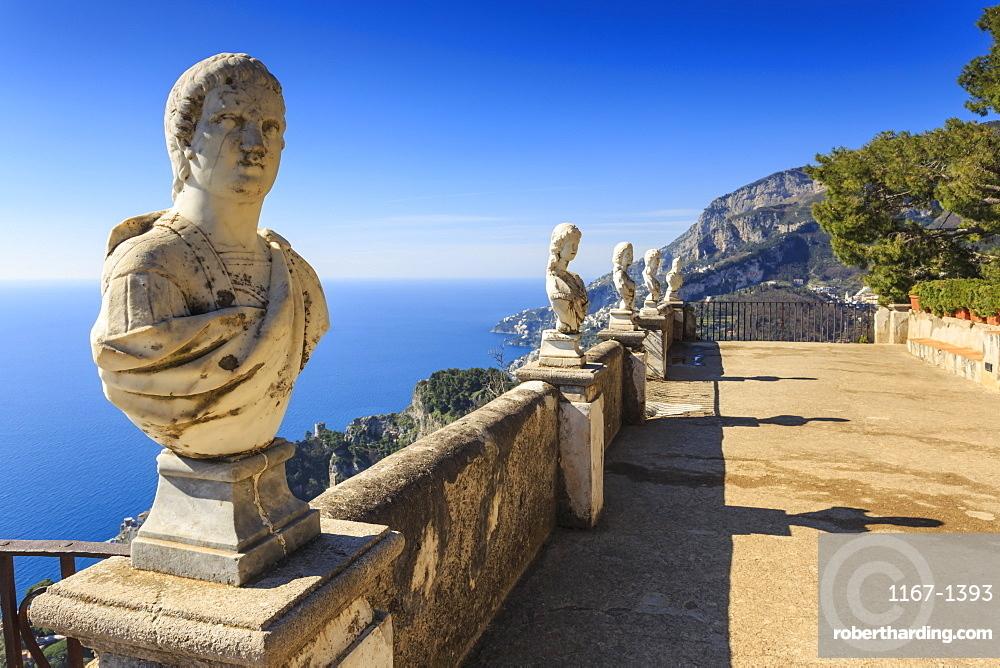 Stunning Terrace of Infinity, Gardens of Villa Cimbrone, Ravello, Amalfi Coast, UNESCO World Heritage Site, Campania, Italy, Europe
