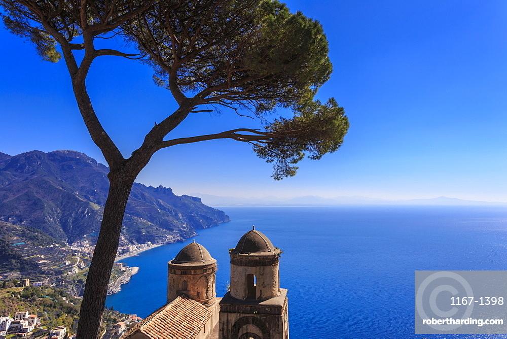 Iconic Amalfi Coast, church and umbrella pine from Villa Rufolo Gardens, Ravello, UNESCO World Heritage Site, Campania, Italy, Europe