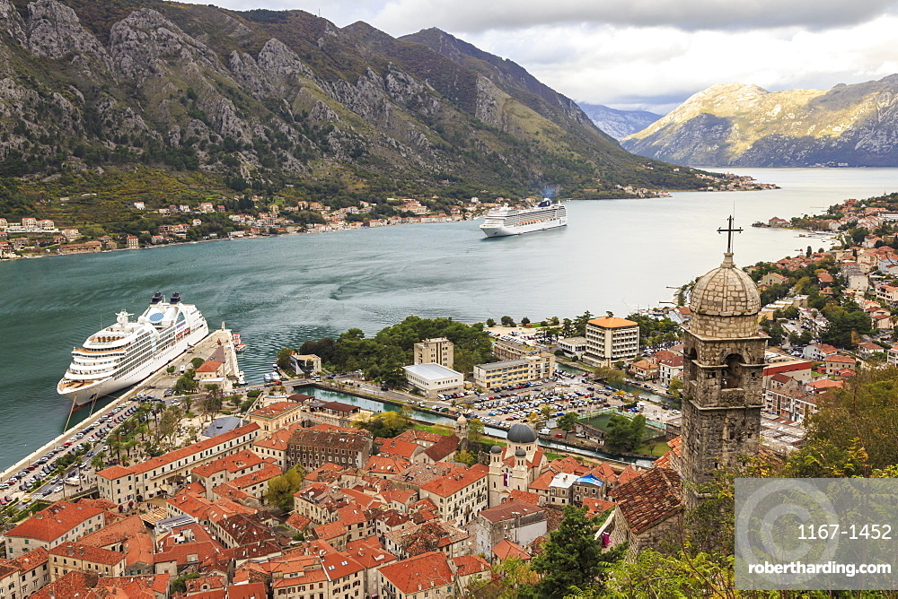 Church of Our Lady of Remedy, old town and cruise ship, St. John's Hill walls, Kotor, UNESCO World Heritage Site, Montenegro, Europe
