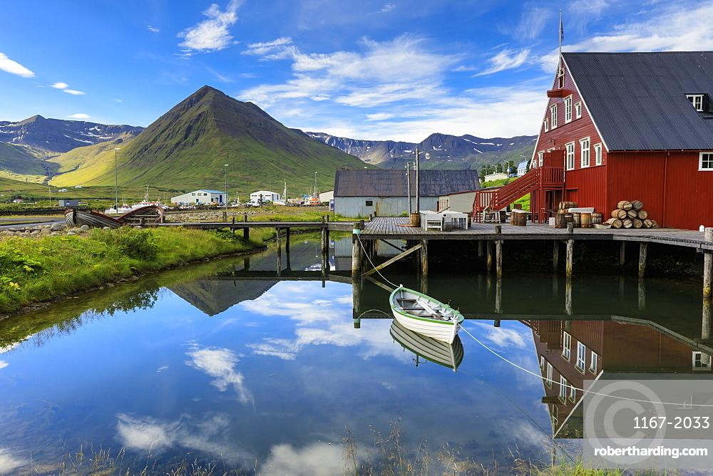Award-winning Herring Era Museum, fjord scenery, reflections, Siglufjordur, (Siglufjorour), stunning Summer day, North Iceland, Europe