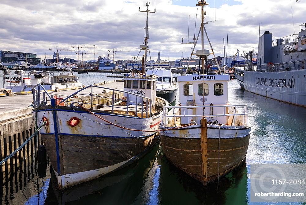 Fishing boats in Reykjavik Old Harbour in summer, distant Hallgrimskirkja, Central Reykjavik, Iceland, Polar Regions