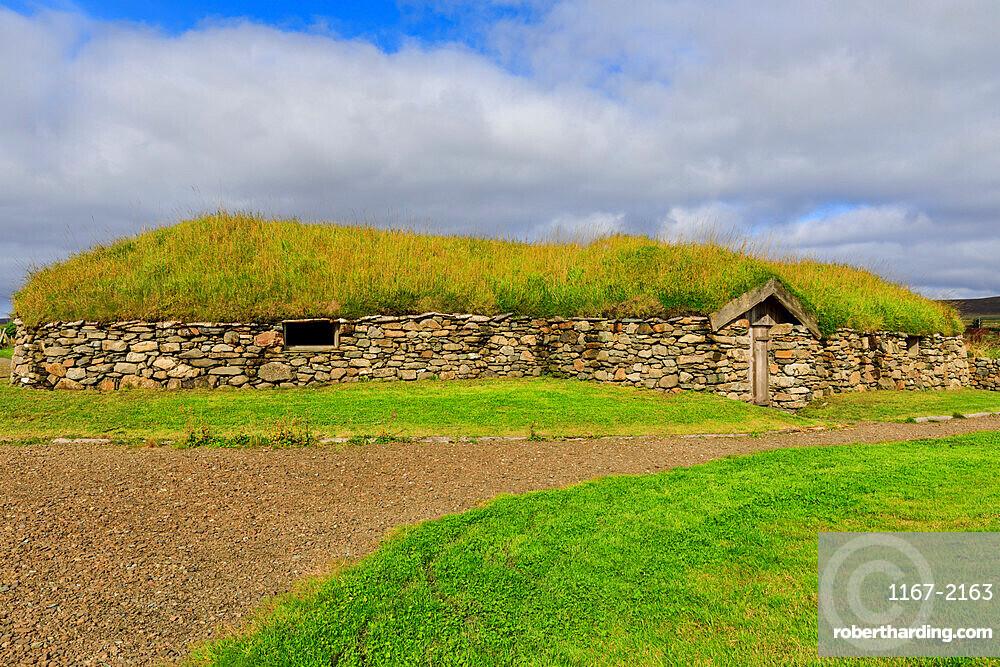 Replica Viking longhouse, turf roof, Haroldswick, Island of Unst, Shetland Isles, Scotland, United Kingdom, Europe