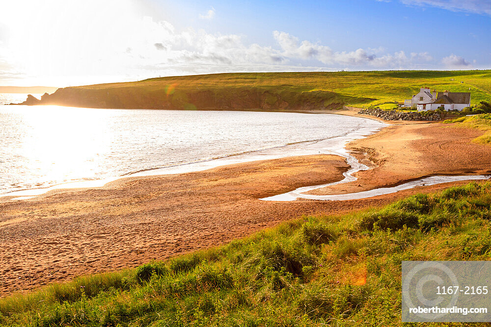 Reawick, red sand granite beach, unusual geology, coastal views, West Mainland, Shetland Isles, Scotland, United Kingdom, Europe