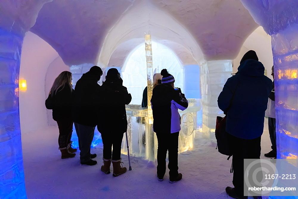 Sorrisniva Igloo Hotel, snow or ice hotel, striking sculpture, ice bar in winter, Alta, Finnmark, Arctic Circle, North Norway, Scandinavia, Europe