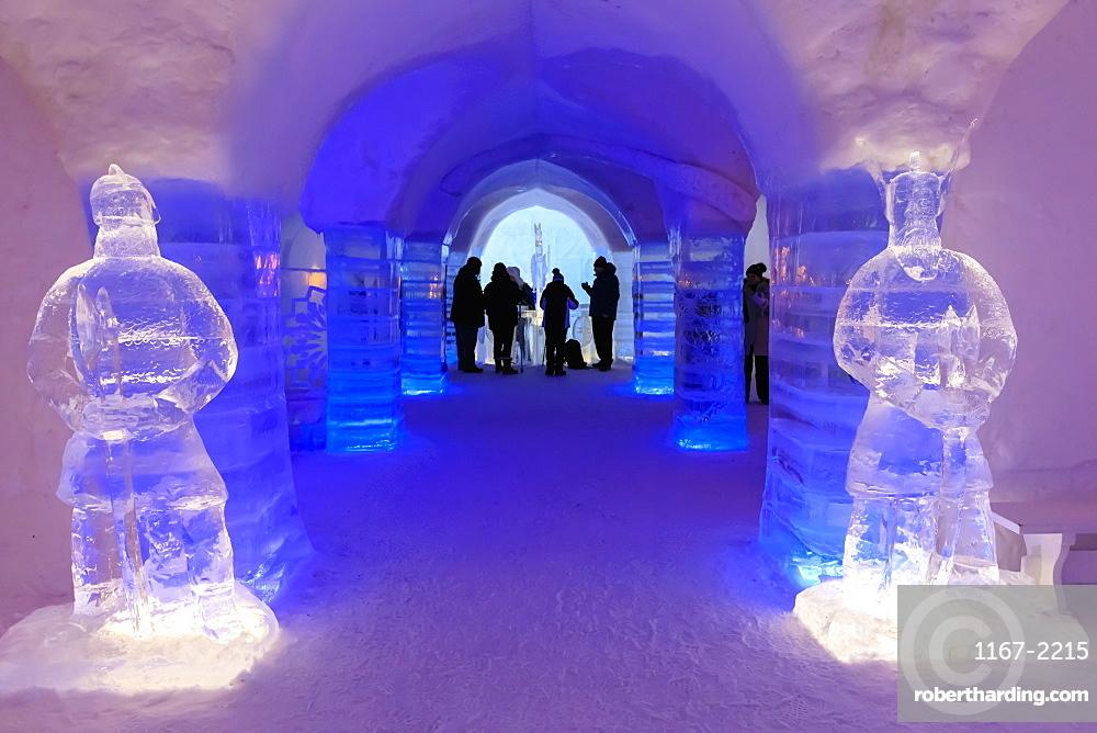Sorrisniva Igloo Hotel, snow or ice hotel, striking sculpture, ice bar, Alta, Winter, Finnmark, Arctic Circle, North Norway, Scandinavia, Europe