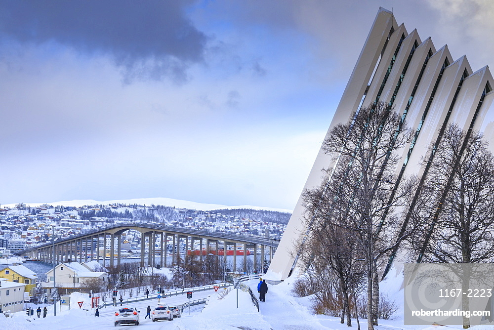 Arctic Cathedral, Tromsdalen, Tromso, after heavy snow in winter, Tromsoya, Troms, Arctic Circle, North Norway, Scandinavia, Europe