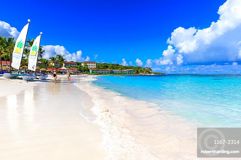 Long Bay Beach, beautiful white sand, turquoise sea, watersports, tourists, Antigua, Antigua and Barbuda, Leeward Islands, West Indies, Caribbean, Central America