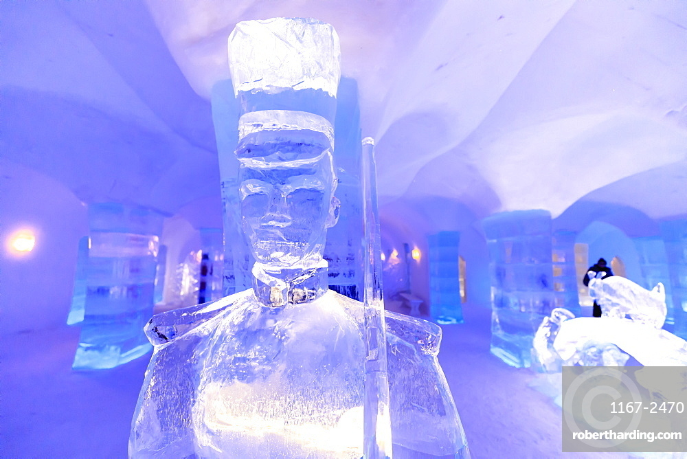 Sorrisniva Igloo Hotel, snow or ice hotel, striking sculpture, lobby, Alta, Winter, Finnmark, Arctic Circle, North Norway