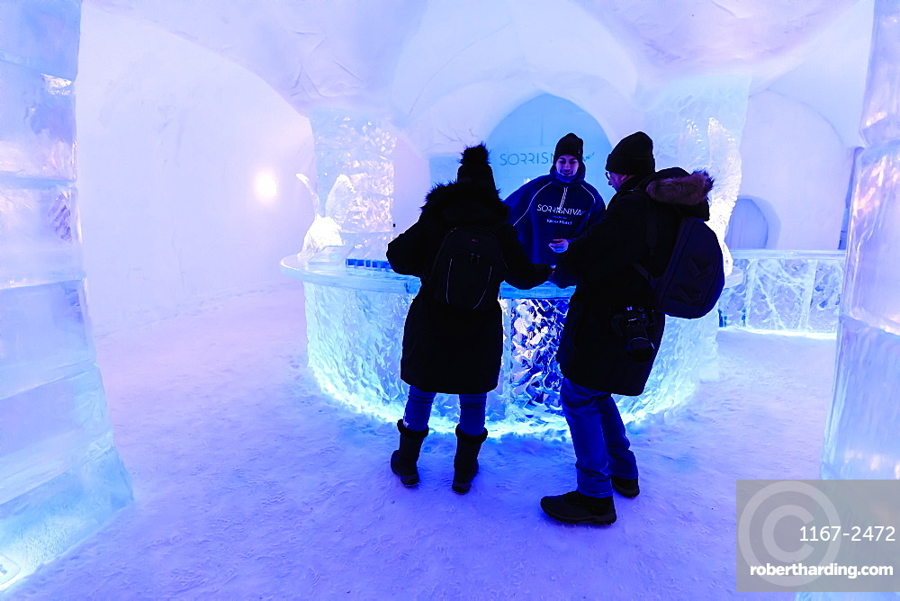 Sorrisniva Igloo Hotel, snow or ice hotel, striking sculpture, ice bar, Alta, Winter, Finnmark, Arctic Circle, North Norway