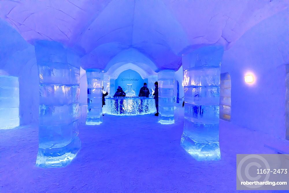 Sorrisniva Igloo Hotel, snow or ice hotel, striking sculpture, ice bar, Alta, Winter, Finnmark, Arctic Circle, North Norway