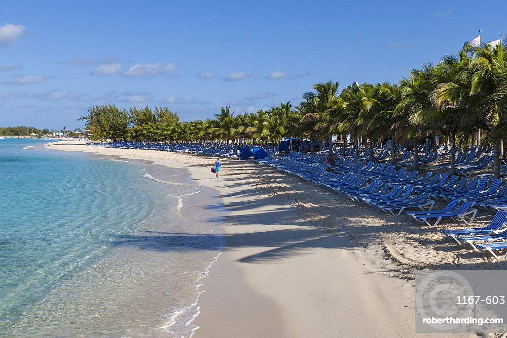 Tourist on a white sand beach, palm trees and empty sun loungers, cruise terminal, Grand Turk, Turks and Caicos, West Indies, Caribbean, Central America