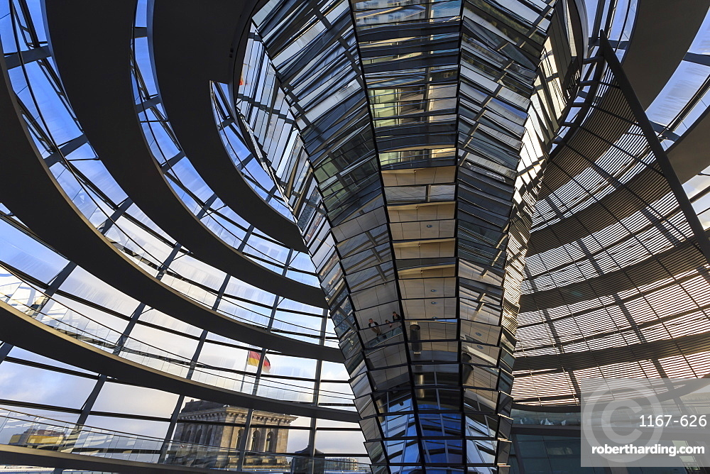 Reichstag dome interior with reflected visitors, early morning, Mitte, Berlin, Germany, Europe