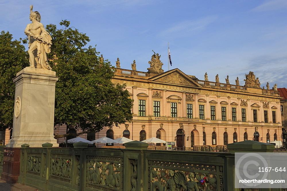 Wrought iron balustrade, Palace Bridge (Schlossbrucke), and German Historical Museum, Museum Island, Berlin, Germany, Europe