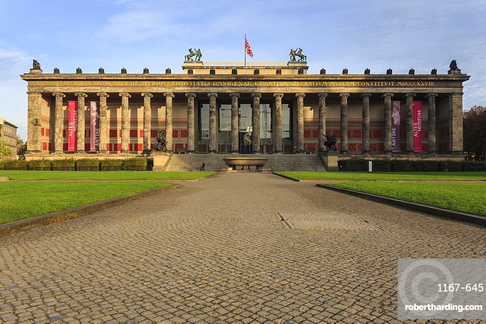 Cobbled approach to Altes Museum in the Lustgarten, early morning, Museum Island, Berlin, Germany, Europe