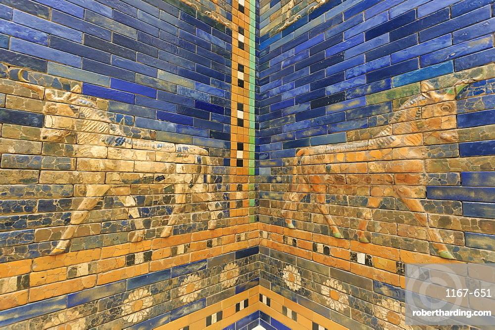 Blue glazed bricks with bull relief, Ishtar Gate (Babylon), Pergamonmuseum (Pergamon Museum), Museum Island, Berlin, Germany, Europe