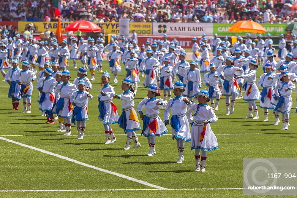 Dancing child performers and crowd, Naadam Stadium, Naadam Festival Opening Ceremony, Ulaan Baatar (Ulan Bator), Mongolia, Central Asia, Asia