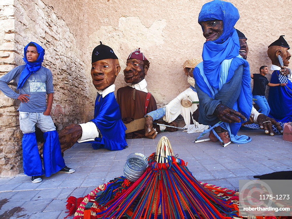 Large figures for the Gnaoua Festival in Essaouira, Morocco