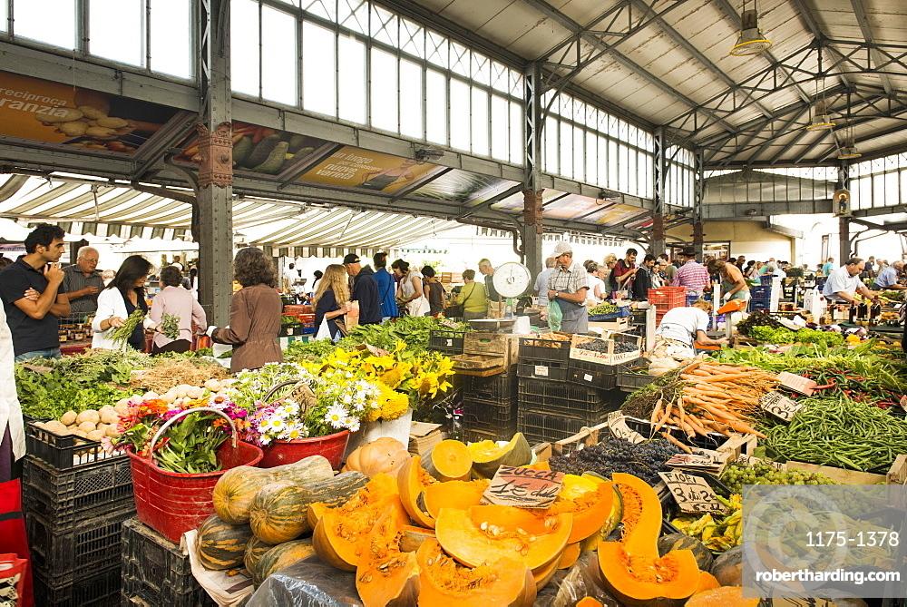 The indoor market at Porta Palazzo, Turin, Italy