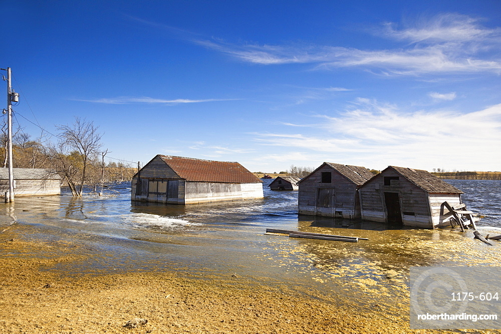 Flooded houses at Saskatchewan, Canada