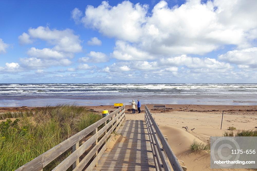 Wooden bridge on beach of Brackley-Dalvay, Prince Edward island National park, Canada