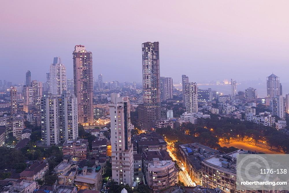 Mumbai skyline from Malabar Hill, Mumbai, Maharashtra, India, Asia