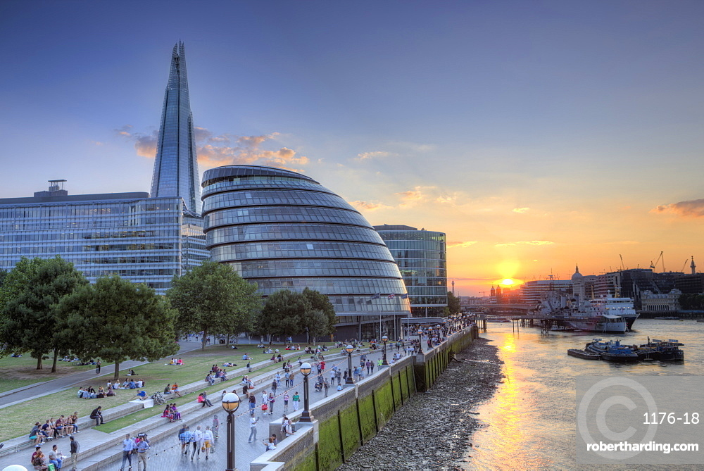 View of City Hall and the Shard on the south bank of the River Thames at sunset, London, England, United Kingdom, Europe